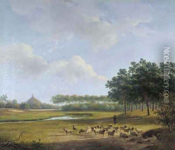 The Estate Raephorst in Wassenaar, with the Seringenberg in the distance Oil Painting - Andreas Schelfhout