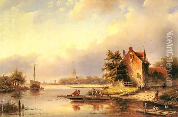 A Summer's Day at the Ferry Crossing Oil Painting - Jan Jacob Coenraad Spohler