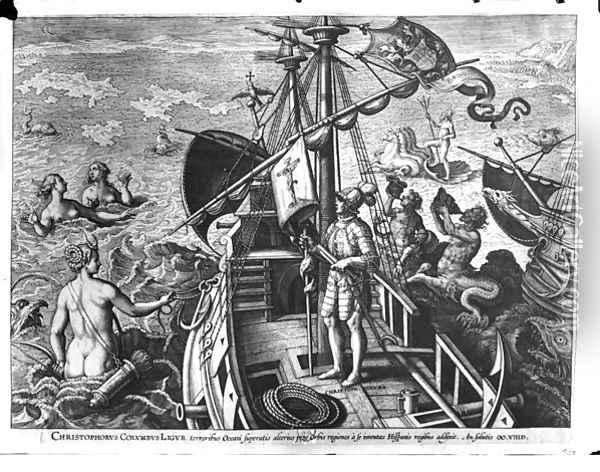 Christopher Columbus 1451-1506 on board his caravel, discovering America Oil Painting - Giovanni Stradano