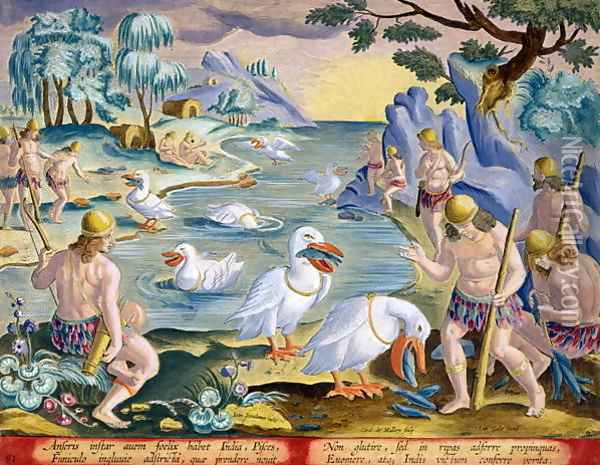 Semi-Naked Savages of India Using Pelicans to Catch Fish, plate 91 from Venationes Ferarum, Avium, Piscium Of Hunting Wild Beasts, Birds, Fish engraved by Jan Collaert 1566-1628 published by Phillipus Gallaeus of Amsterdam Oil Painting - Giovanni Stradano