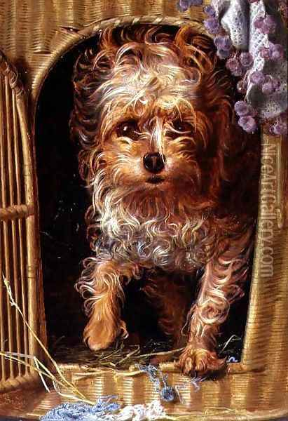 Darby, a Yorkshire Terrier Oil Painting - Anthony Frederick Sandys