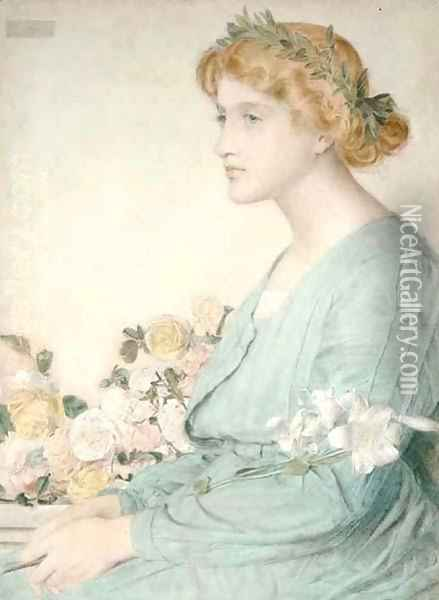 The Laurel Wreath Oil Painting - Anthony Frederick Sandys