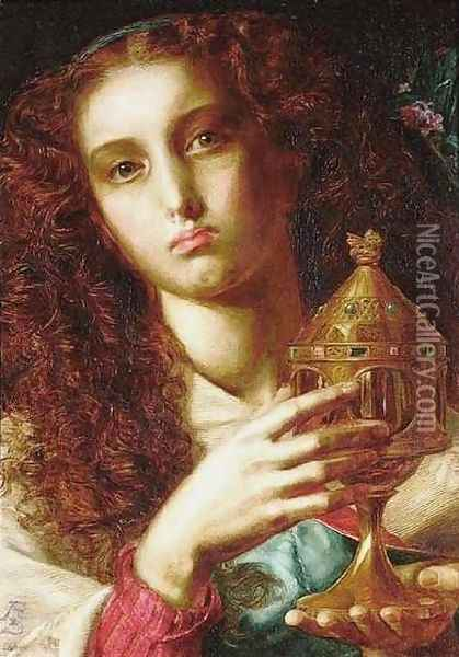 King Pelles' Daughter bearing the Sancgraal Oil Painting - Anthony Frederick Sandys