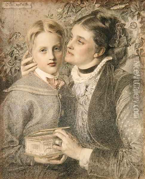 Mrs Tom Chappell and Son, 1874 Oil Painting - Anthony Frederick Sandys