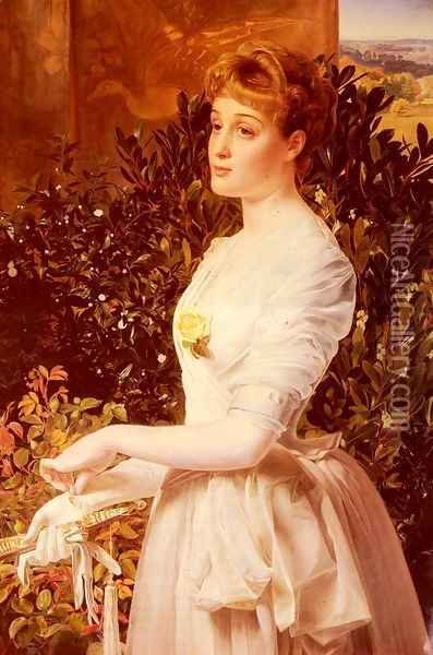 Portrait Of Julia Smith Caldwell Oil Painting - Anthony Frederick Sandys