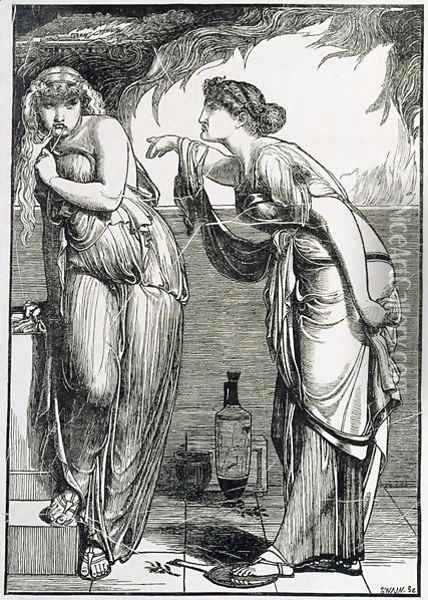 Helen and Cassandra, 1866 Oil Painting - Anthony Frederick Sandys