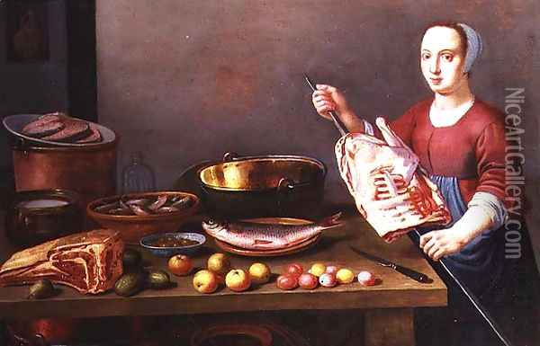 A Still Life of Meat and Fish with a Cook Oil Painting - Floris Gerritsz. van Schooten