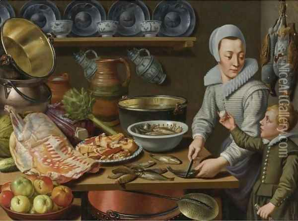 A Kitchen Interior Oil Painting - Floris Gerritsz. van Schooten