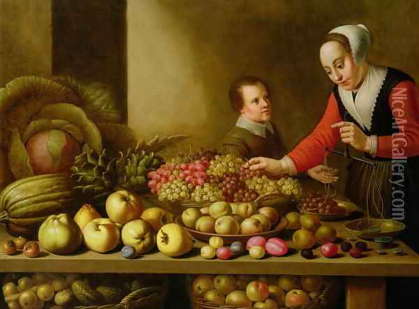Girl selling grapes from a large table laden with fruit and vegetables Oil Painting - Floris Gerritsz. van Schooten