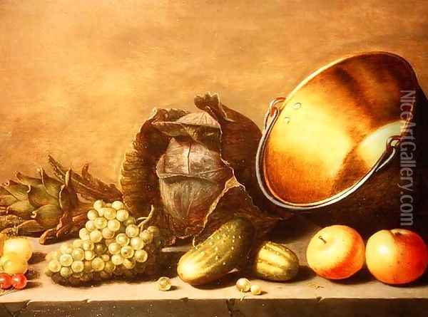 Still Life with a Brass Pot Oil Painting - Floris Gerritsz. van Schooten