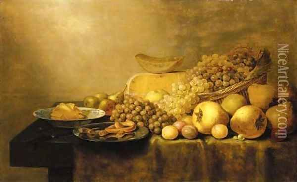 Grapes in a basket, with pears, plums, cheese, butter in a porcelain dish, pastries on a pewter dish and a knife on a partially draped table Oil Painting - Floris Gerritsz. van Schooten