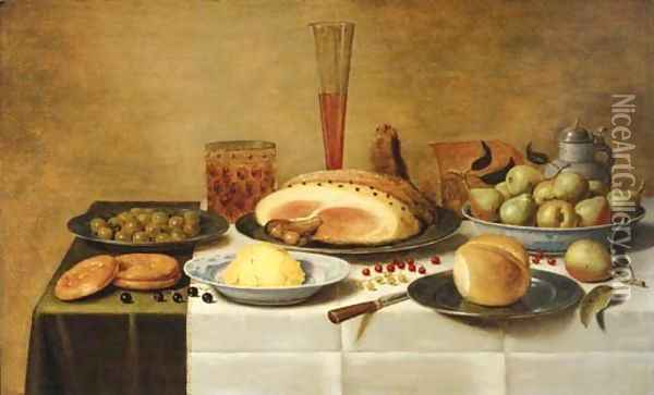 Mulberries, a ham and a bun on pewter plates, butter and pears on porcelain dishes with a beerglass, a flute and a knife on a draped table Oil Painting - Floris Gerritsz. van Schooten