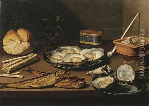 Pewter plates with opened oysters, two mackerel, a bun, oyster shells, a bag of tobacco, matches, a white clay pipe, a berkemeier of white wine Oil Painting - Floris Gerritsz. van Schooten