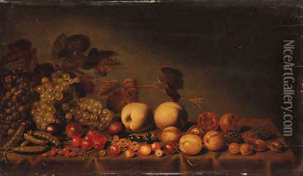 Grapes, plums, medlars, cherries, assorted berries and peas on a draped table Oil Painting - Floris Gerritsz. van Schooten