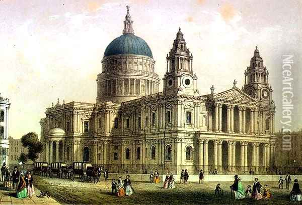 St. Pauls Cathedral from the North West Oil Painting - Thomas Hosmer Shepherd