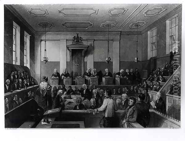 Central Criminal Court, The Old Bailey, engraved by H. Melville Oil Painting - Thomas Hosmer Shepherd