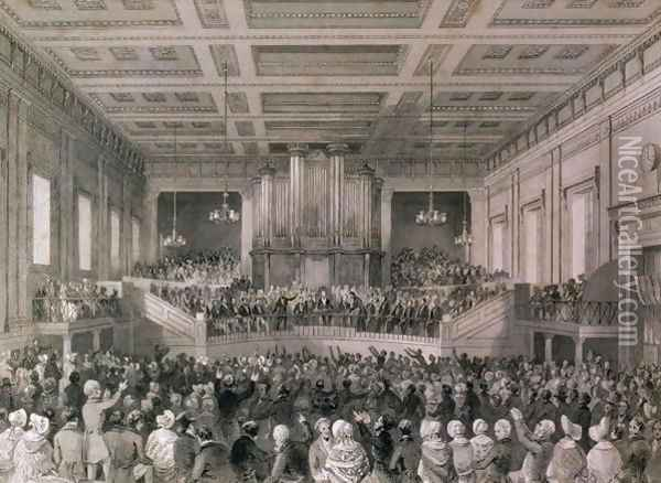 The Great Anti-Slavery Meeting of 1841, at Exeter Hall, engraved by Henry Melville fl.1826-41 Oil Painting - Thomas Hosmer Shepherd