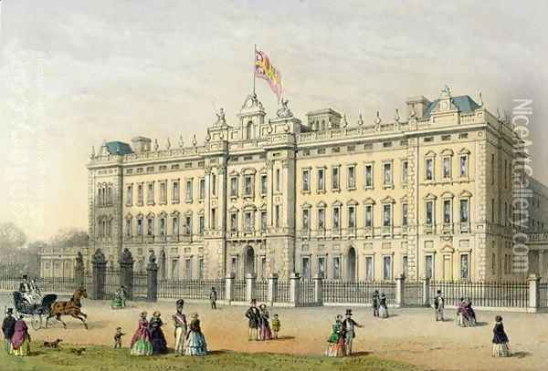 Buckingham Palace, engraved by Bachelier, pub. 1854 Oil Painting - Thomas Hosmer Shepherd