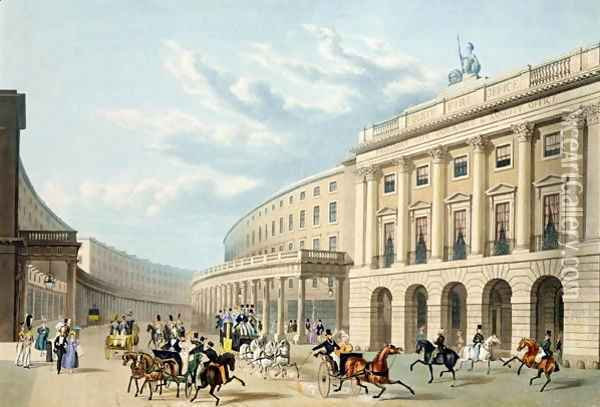 The Quadrant, Regent Street, from Piccadilly Circus, published by Ackermann, c.1835-50 Oil Painting - Thomas Hosmer Shepherd