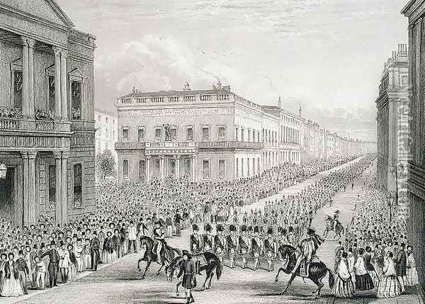 Wellingtons Funeral Procession passing the Senior United Service Club, Pall Mall Oil Painting - Thomas Hosmer Shepherd
