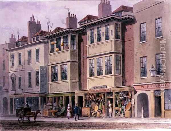 Crace XXVII-134 Old Houses on the East Side of Grays Inn Lane, looking North from Holborn Oil Painting - Thomas Hosmer Shepherd