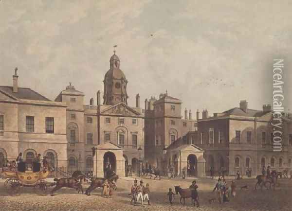 The Horse Guards, Whitehall from Ackermanns Repository of London, 1816 Oil Painting - Thomas Hosmer Shepherd