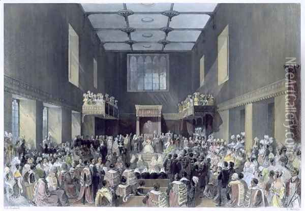 The House of Lords, Her Majesty opening the Session of Parliament, engraved by Henry Melville fl.1826-41 c.1840 Oil Painting - Thomas Hosmer Shepherd