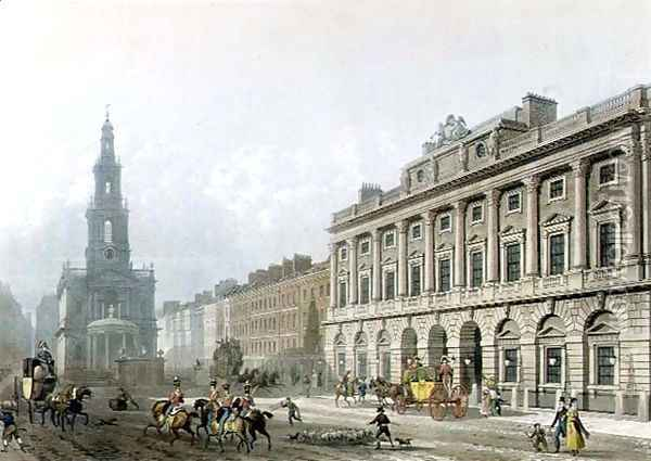 View of Somerset House, from the Strand, engraved by J. Bluck fl.1791-1831, pub. 1819 by Ackermanns Repository of Arts Oil Painting - Thomas Hosmer Shepherd