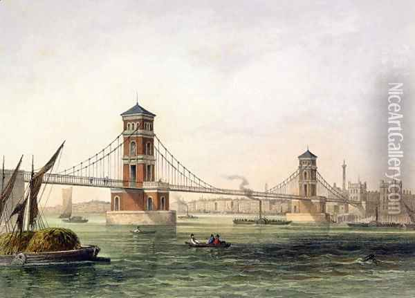 View of Hungerford Bridge from the East, engraved by Jean Jacottet 1806-c.43 1854 Oil Painting - Thomas Hosmer Shepherd