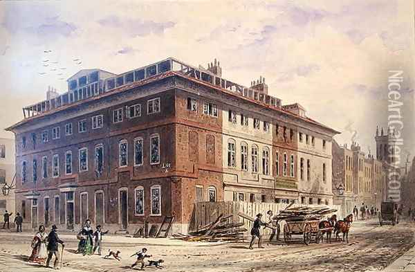 Old House in New Street Square, South East Front Oil Painting - Thomas Hosmer Shepherd