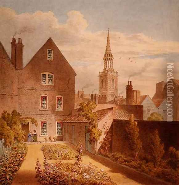 A View of Mr Upcotts House and Garden with Islington Church in the Distance, c.1835 Oil Painting - Thomas Hosmer Shepherd