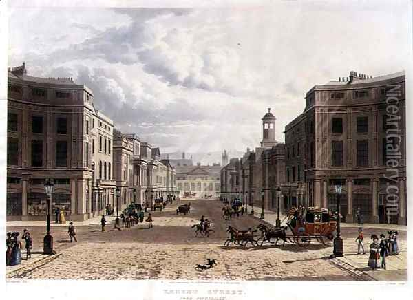 Regent Street, from Piccadilly, engraved by J. Bluck fl.1791-1831, pub. 1822 by Ackermanns Repository of Arts Oil Painting - Thomas Hosmer Shepherd