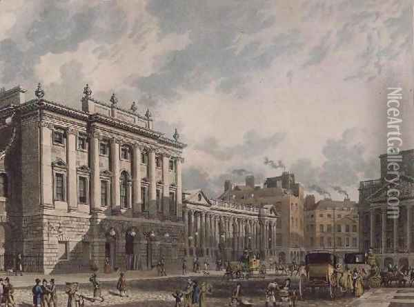 A View of the Bank of England, engraved by Daniel Havell 1785-1826, pub. 1816 by Ackermanns Repository of Arts Oil Painting - Thomas Hosmer Shepherd