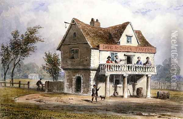 A View of the Old Dog and Duck, St. Georges Fields Oil Painting - Thomas Hosmer Shepherd