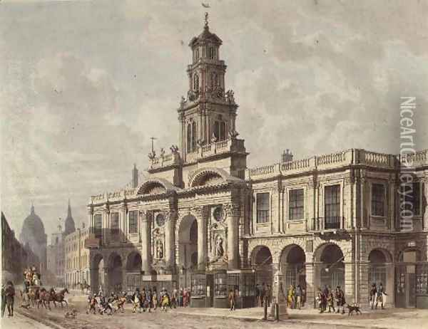 A View of The Royal Exchange, Cornhill, engraved by Daniel Havell 1785-1826, pub. 1816 by Ackermanns Repository of Arts Oil Painting - Thomas Hosmer Shepherd