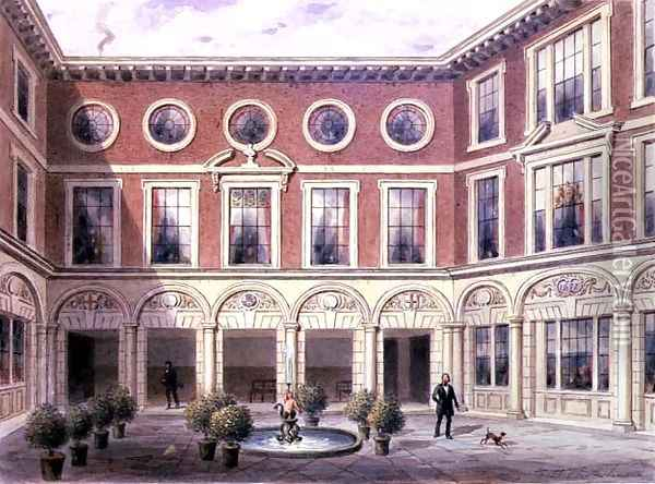 Crace XXXVII-123 The Inner Court of Tallow Chandlers Hall, Dowgate Hill, 1852 Oil Painting - Thomas Hosmer Shepherd