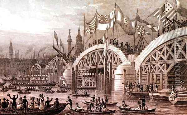 New London Bridge with the Lord Mayors Procession Passing under the Unfinishd Arches, engraved by Thomas Higham 1796-1844 pub. by Jones and Co. November 1828 Oil Painting - Thomas Hosmer Shepherd