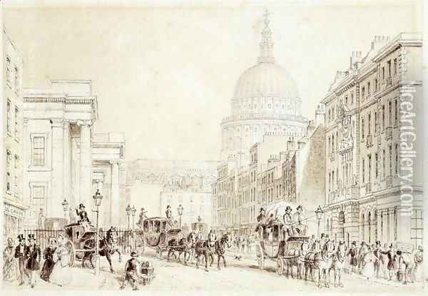 View of St. Martins le Grand and the Old General Post Office, c.1830 Oil Painting - Thomas Hosmer Shepherd