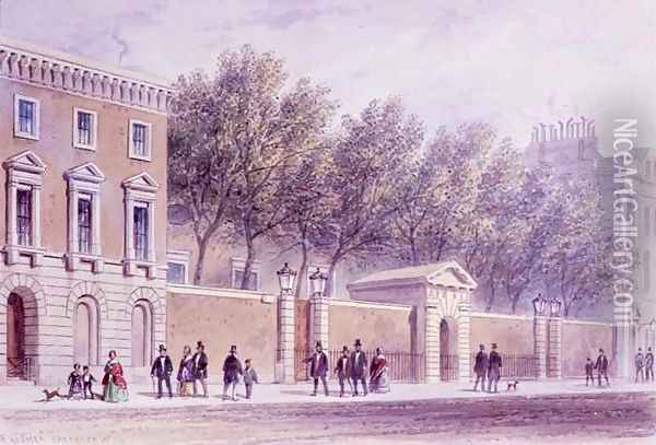 The New Entrance to Grocers Hall, Princes Street, opposite the Bank. Erected 1842 Oil Painting - Thomas Hosmer Shepherd
