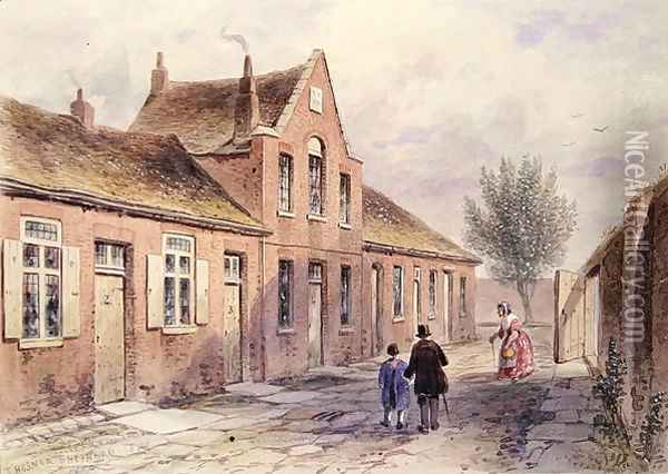 Witchers Alms Houses Tothill Fields, 1850 Oil Painting - Thomas Hosmer Shepherd