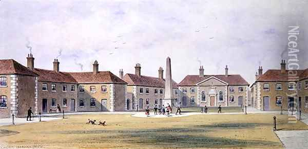 View of Charles Hoptons Alms Houses, 1852 Oil Painting - Thomas Hosmer Shepherd