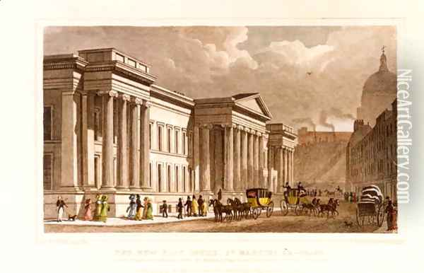 The New Post Office, St. Martins le Grand, engraved by William Tombleson born c.1795, published by Jones & Co., 30th August, 1828 Oil Painting - Thomas Hosmer Shepherd