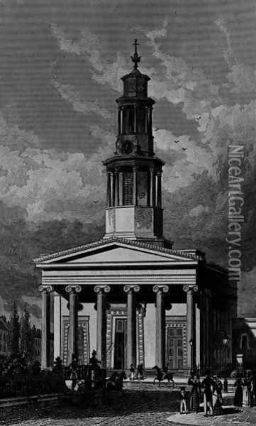 St. Pancrass Church, West Front, engraved by James Tingle 1827 Oil Painting - Thomas Hosmer Shepherd