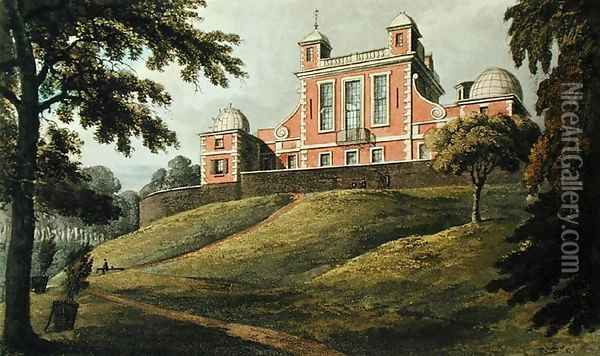 Flamstead House, from Ackermanns Repository of Arts, published c.1826 Oil Painting - Thomas Hosmer Shepherd
