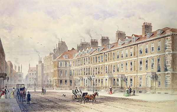 South Side of Queen Square, 1851 Oil Painting - Thomas Hosmer Shepherd