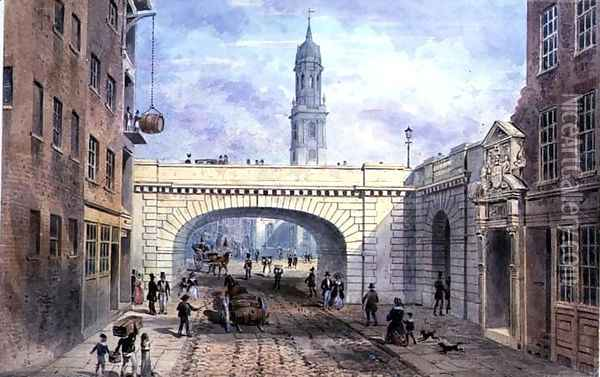 Entrance to Old Fishmongers Hall from Thames St. Oil Painting - Thomas Hosmer Shepherd