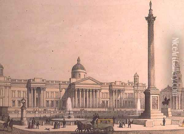 The National Gallery with Nelsons Column Oil Painting - Thomas Hosmer Shepherd