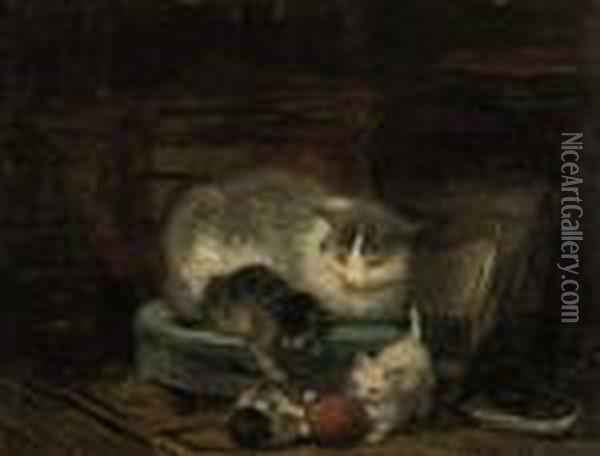 Playing Kittens Oil Painting - Henriette Ronner-Knip