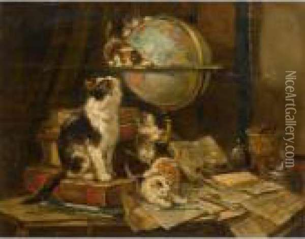 Playful Kittens In A Study Oil Painting - Henriette Ronner-Knip