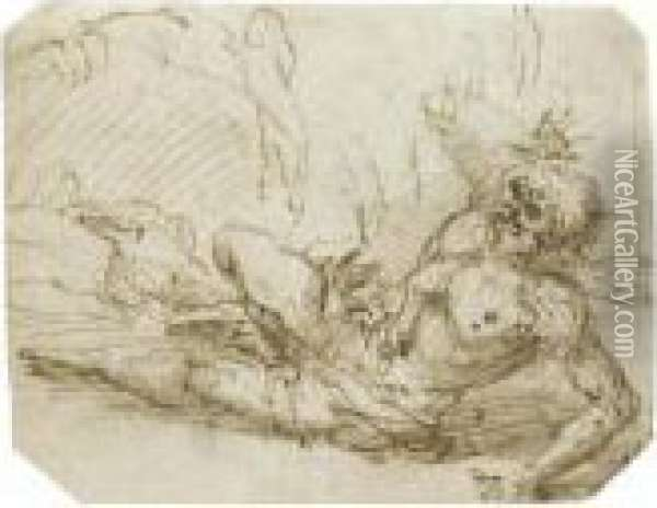 A Bearded Man Sprawled On The Ground With His Right Armraised Oil Painting - Salvator Rosa